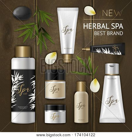 Colored spa cosmetic composition with cosmetic package icon set on wooden background and herbal spa best brand headline vector illustration