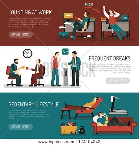 Lazy people set of horizontal banners with lounging at work frequent breaks sitting lifestyle isolated vector illustration