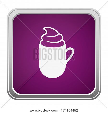 violet square button relief with silhouette cup of cappuccino with cream vector illustration