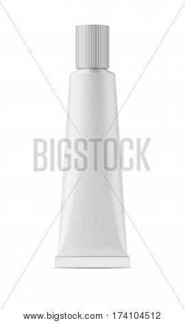 White glossy metal tube with ribbed cap for glue, sealant, epoxy, gel, medicine and cosmetics products. Realistic packaging mockup template. Front view. Vector illustration.