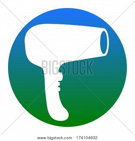 Hair Dryer sign. Vector. White icon in bluish circle on white background. Isolated.
