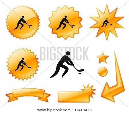 Hockey Icon on Orange Burst Banners and Medals Original Vector Illustration