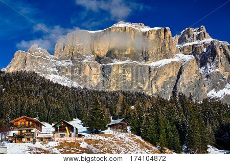 Riffuggio and restaurant in the Dolomites mountains in winter, Italy, Europe