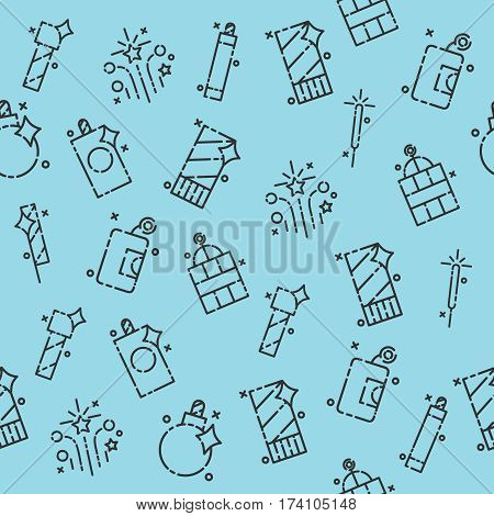 Pyrotechnics set pattern. Festival or party elements background. Vector illustration, EPS 10