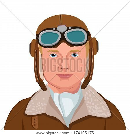 Vintage Aviator. Great Illustration Of A Vintage Pilot Isolated In White Background. Vector Illustration. Retro Man Pilot Aviation In Aviator Helmet.