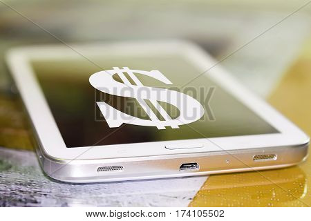 Dollar symbol on the cell phone screen
