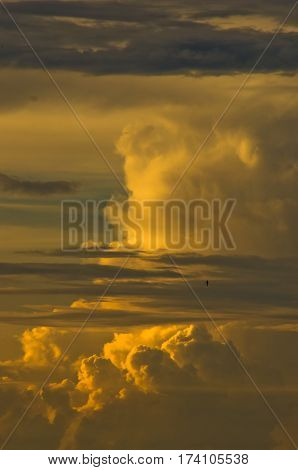 Colorful and picturesque clouds at sunset in Belgrade, Serbia