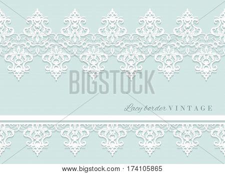 Lace decorative border set on pastel blue. Bridal shower and wedding design. Vector