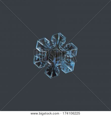 Macro photo of real snow crystal: thin stellar plate with simple shape and inner pattern, glittering on dark cyan background.