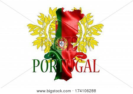 Portugal National Flag With Map Of Portugal And Name Of The Country Isolated On White Background 3D