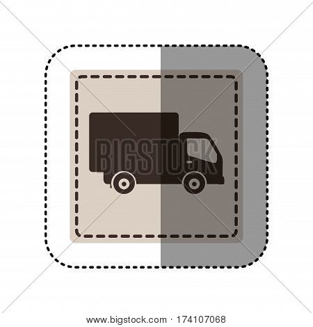 sticker monochrome square with truck vector illustration