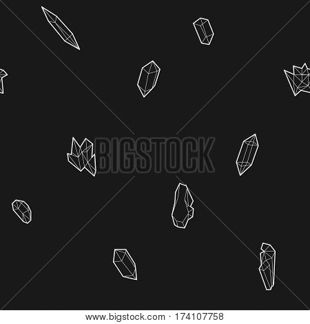 Seamless black and white geometric pattern with low-poly crystals. Vector illustration.