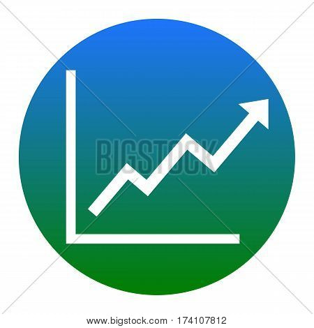Growing bars graphic sign. Vector. White icon in bluish circle on white background. Isolated.