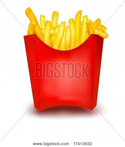 Photo-realistic vector. A box of the french fries.