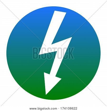 High voltage danger sign. Vector. White icon in bluish circle on white background. Isolated.