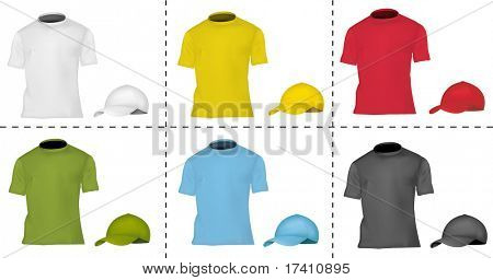 Photo-realistic vector illustration. Collection of cap and T-shirt templates (men). Black, white, blue, red, green and yellow.