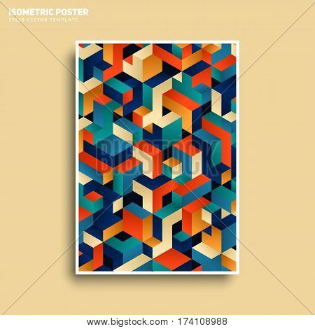 Isometric pattern cover. Modern design. Cool colorful background. Applicable for Banners, Placards, Posters, Flyers. Eps10 vector template.
