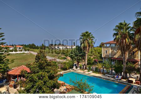 Camyuva Kemer Antalya Turkey - 29 august 2014: empty swimming pool for guests of a small hotel a top view.