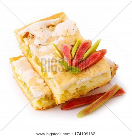 Delicious rhubarb pie isolated on white. Piece of sweet cake with rhubarb.