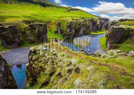 Magic canyon Fyadrarglyufur in Iceland. Green Tundra in July. Bizarre shape of cliffs and stream with glacial water. The concept of active northern tourism