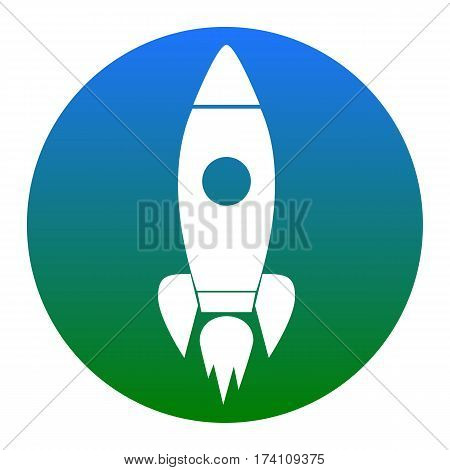 Rocket sign illustration. Vector. White icon in bluish circle on white background. Isolated.
