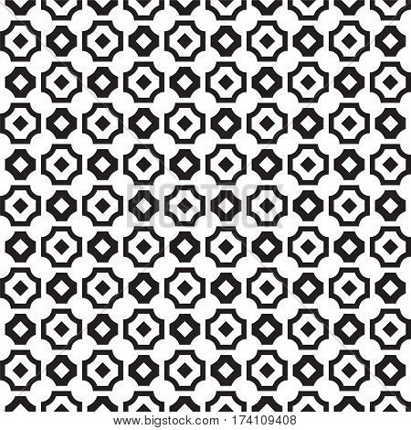 black and white squares cut off in corners with crosswise squares pattern background vector illustration image