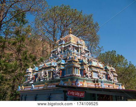 SHIMLA, INDIA. 8 Jun 2009: Small Hindu temple in the vicinity of Shimla. Shimla, Himachal Pradesh, India