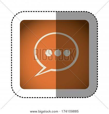 sticker color square with speech bubble vector illustration