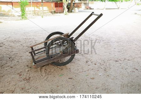 wooden barrow old two wheel with copy space add text