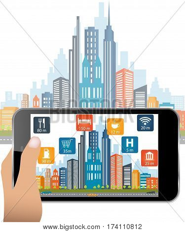 Hand holding smartphone use Augmented Reality application.The user is searching street location and relevant information about the spaces.City in background