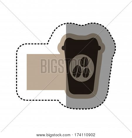 sticker monochrome emblem with disposable coffee cup vector illustration