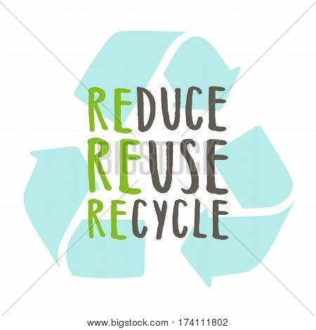 Reduce, reuse, recycle. Vector hand drawn recycling sign