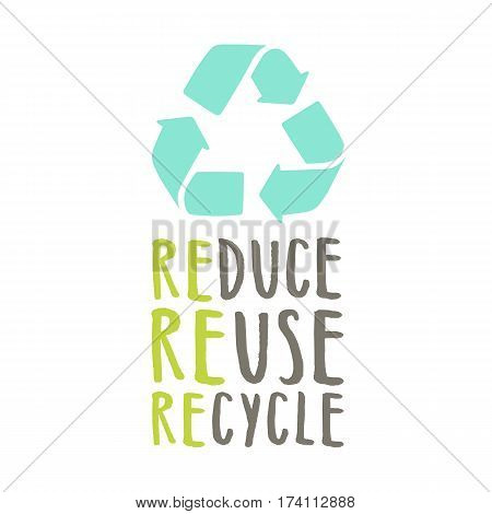 Reduce, reuse, recycle. Sign and hand drawn lettering. Vector illustration