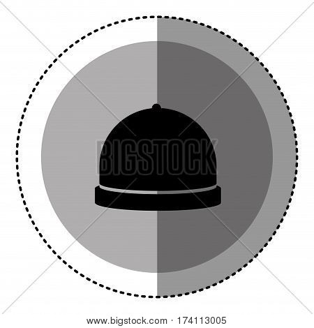 sticker monochrome circular emblem with cloche icon food vector illustration