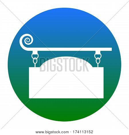 Wrought iron sign for old-fashioned design. Vector. White icon in bluish circle on white background. Isolated.