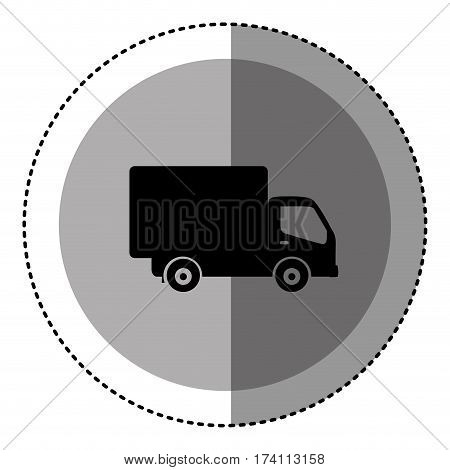 sticker monochrome circular emblem with truck icon vector illustration