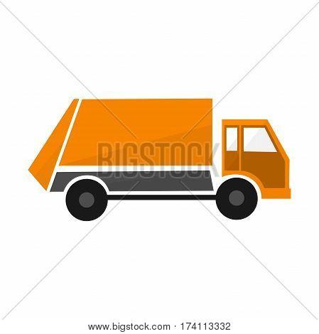 Orange garbage truck flat illustration municipal lorry vehicle urban cargo car