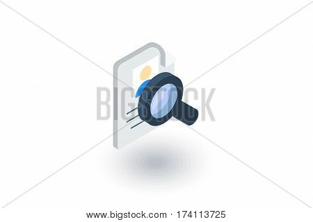 recruitment, resume search, job, selecting staff isometric flat icon. 3d vector colorful illustration. Pictogram isolated on white background