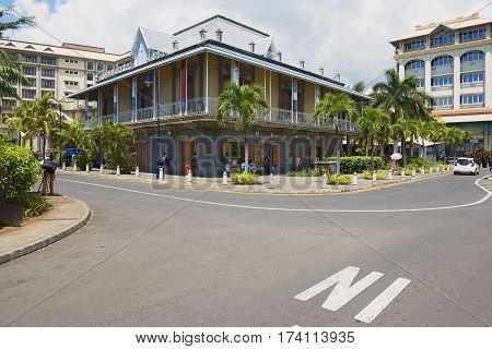 PORT LOUIS, MAURITIUS - NOVEMBER 29, 2012: Exterior of the Blue Penny museum building in Port Louis, Mauritius.