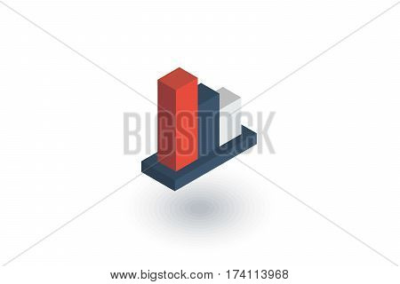 graph chart decline, fall market stock bar isometric flat icon. 3d vector colorful illustration. Pictogram isolated on white background