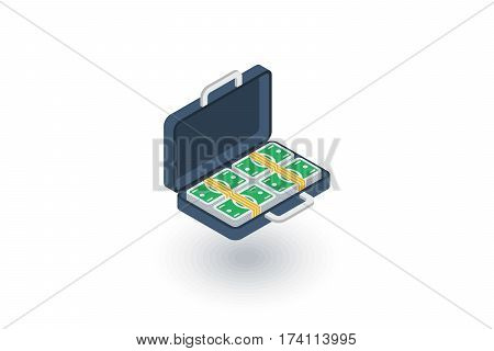 money full case, banking, dollar cash, finance isometric flat icon. 3d vector colorful illustration. Pictogram isolated on white background