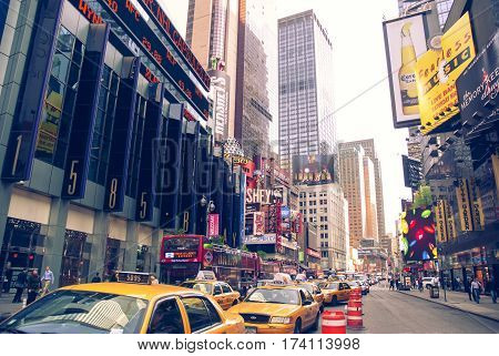 New York City , USA 30 April 2008: New York city taxi rank near the Broadway Theatre