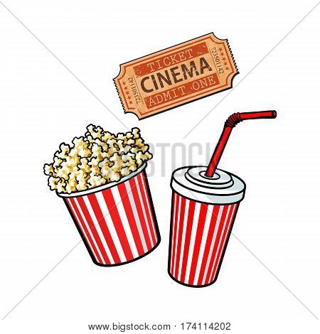 Cinema objects - popcorn bucket, soda water and retro style ticket, sketch vector illustration isolated on white background. Typical movie attributes - popcorn, soda water, cinema ticket