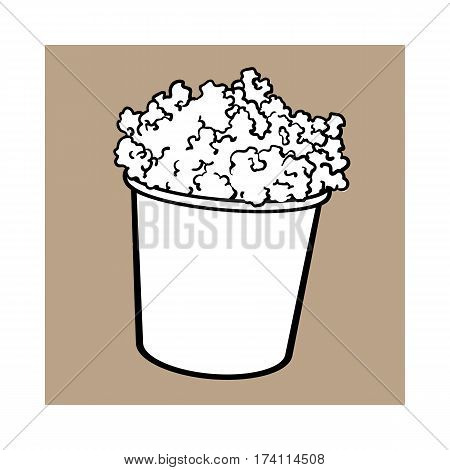 Cinema popcorn in a big striped bucket, sketch style black and white vector illustration isolated on brown background. Popcorn bucket, traditional cinema, movie theatre attribute, food, snack