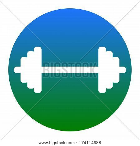 Dumbbell weights sign. Vector. White icon in bluish circle on white background. Isolated.