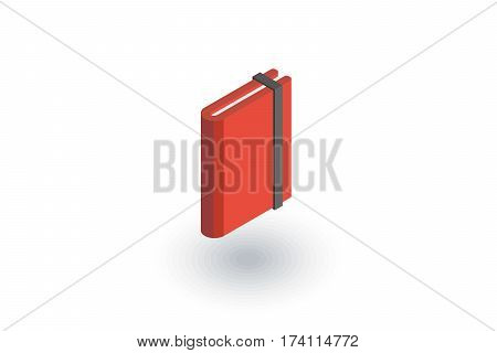 paper notebook isometric flat icon. 3d vector colorful illustration. Pictogram isolated on white background