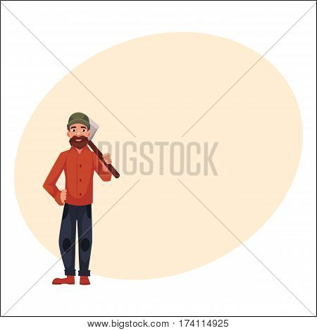 Canadian policeman in traditional uniform - scarlet tunic and breeches, cartoon vector illustration with place for text.