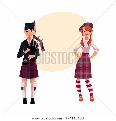 Bagpiper, piper and Scottish girl in national clothes, tartan beret and kilt, cartoon vector illustration with place for text. Full length portrait of Scottish bagpiper and Scotland girl
