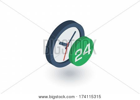 24 hour, around the clock, day and night isometric flat icon. 3d vector colorful illustration. Pictogram isolated on white background