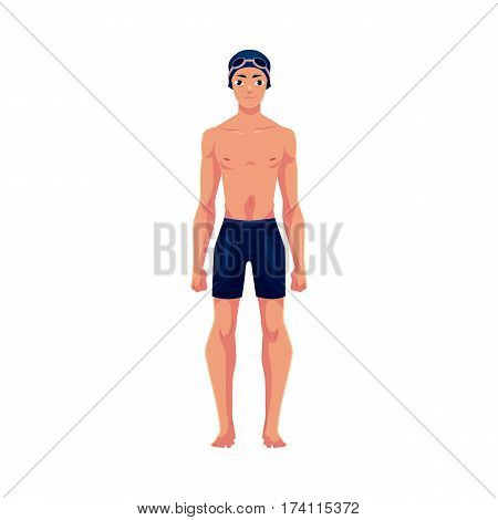 Handsome young man, swimmer in swimming suit, cap and goggles, cartoon vector illustration isolated on white background. Front view full length portrait of man, male swimmer in swimming suit